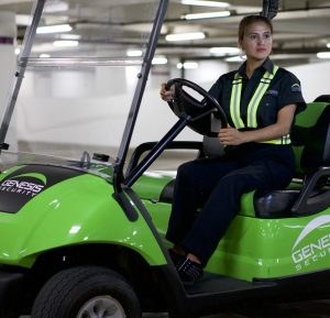 female security in golf cart