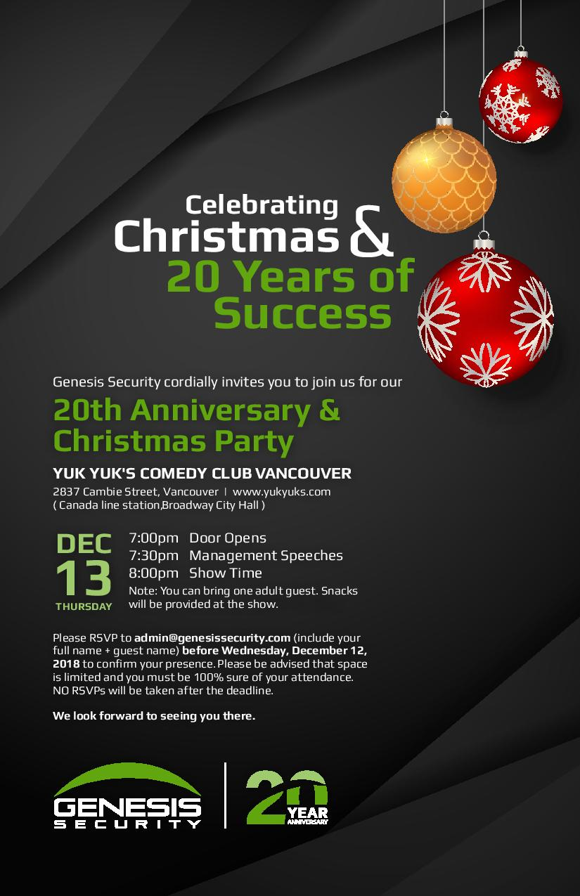 Genesis Secuirty 20th Anniversary & Christmas Party Invite